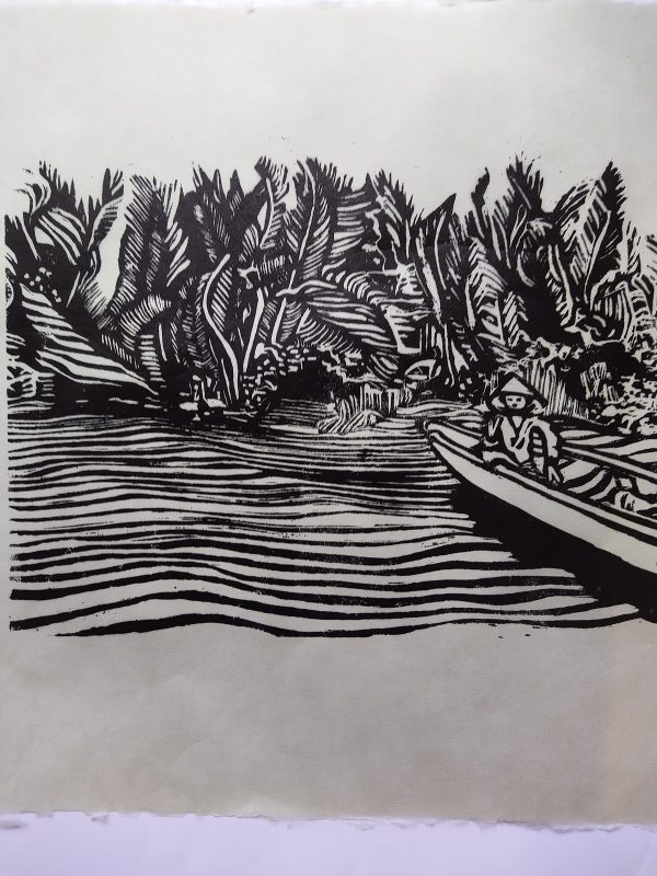 Adrienne Symes-Woodblock - On the Mekong River