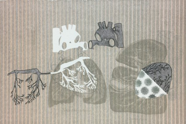 Diamond Point-Sharon Lee- Lithograph, relief, pochoir, chine colle with hand cutting - What Lies Beneath
