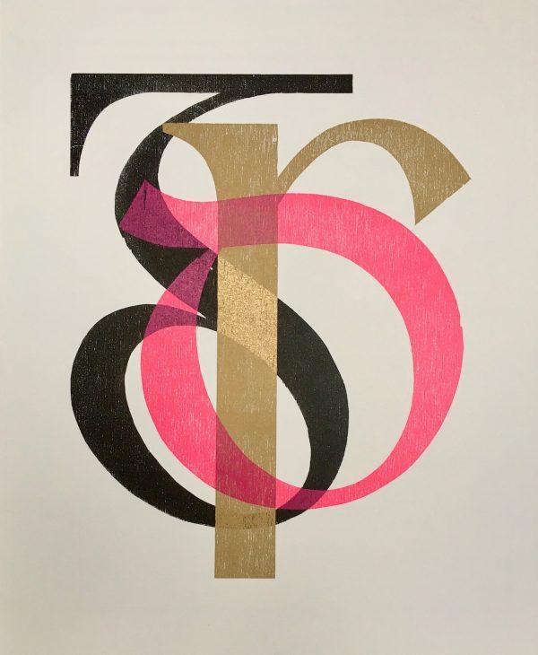 Diamond Point-Mary Plunkett- Letterpress woodcut - Colmcille