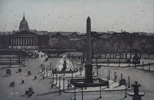 Diamond point-Vaida Varnagiene- Intaglio etching - A Postcard from Paris