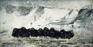 Graphic Studio Dublin •Vincent Sheridan: Winter Herd, 15 x 29.6cm ed of 50 WEB