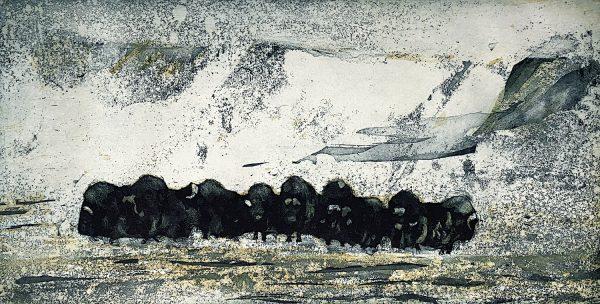 Vincent Sheridan, Winter Herd, 15 x 29.6cm ed of 50 WEB