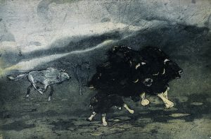 Graphic Studio Dublin •Vincent Sheridan: Wolf Attack, 45 x 29.9 cm, ed of 50 WEB