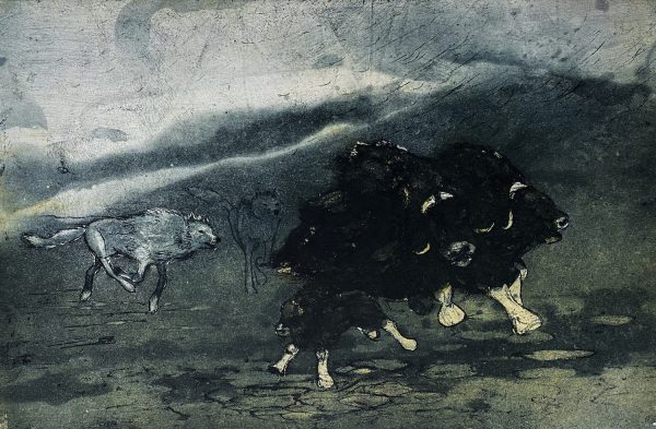 Vincent Sheridan, Wolf Attack, 45 x 29.9 cm, ed of 50 WEB