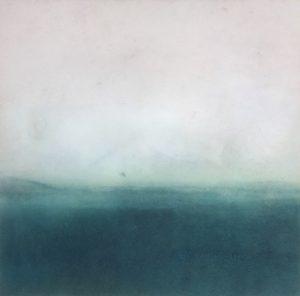 Elke Thonnes- Bending, not breaking, 2021, monoprint and resin