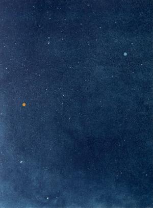 Michele Hetherington, Mars and Venus align in the summer night sky, Etching, 2021.5